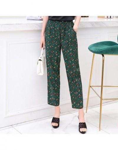 Casual Women Trousers 2019 Summer Ankle-Length Harem Pants Fashion Striped Print Cotton Linen Elastic Waist Pants Plus Size ...