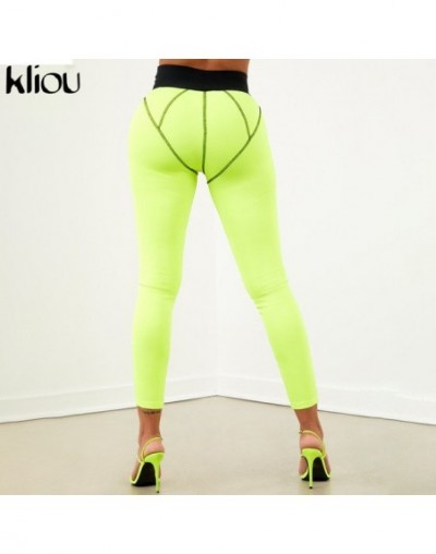 women fitness leggings elastic high waist pants 2019 new arrival female sportswear striped patchwork leggings trousers - Gre...