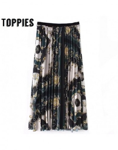 2019 Spring Summer Printed Retro Vintage Pleated Skirt Elastic Waist Print Long Skirt - 4N3050322321