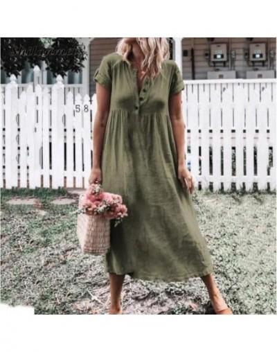 Linen Dress 2019 Plus Size Summer Beach Cotton Casual V Neck Women Girls Long Shirts Dress Kaftan Loose Sexy Boho Maxi Dress...