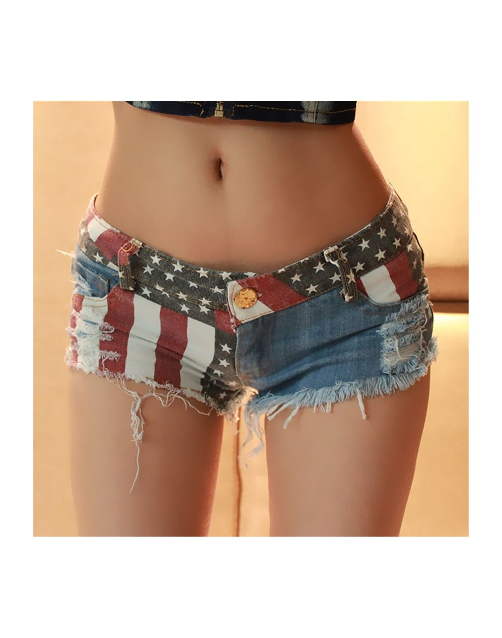 Shocking Show 1PC Sexy American Flag Mini Shorts Jeans Hot Denim Low Waist A487 - 4G3949355539