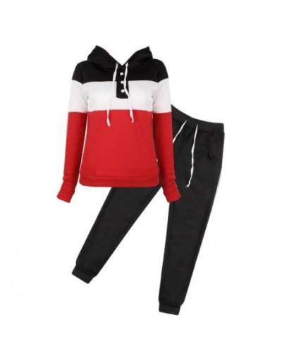 2Pcs Women Tracksuit Hoodie Sweatshirt Sweater Pants Jogger Outfits Set - Black - 4N3893516632-2