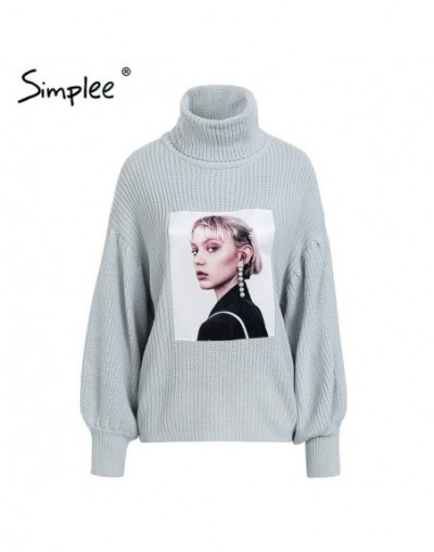 Simplee Plus size red sweater women fashion pullovers and sweaters Winter 2018 lantern sleeve turtleneck sweater female jump...