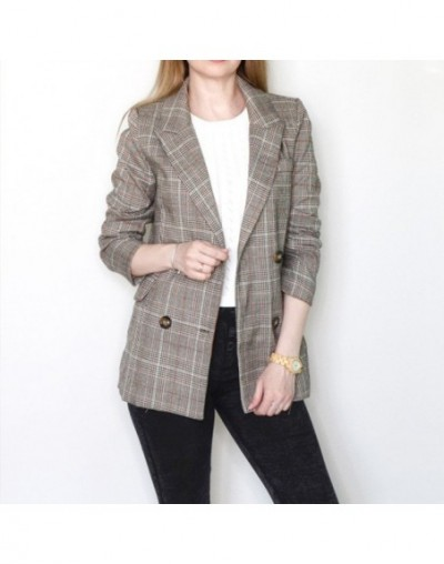 Plaid Vintage Notched Women's Blazer Coats Long Sleeve Double Breasted Blazers Female Jacket 2019 Autumn Office Lady Outerwe...
