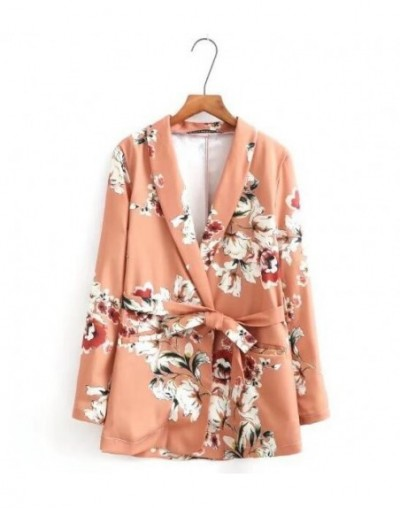 Chic Flower print Sashes Waist Orange Blazer New Woman Shawl Collar Slim fit Mid long Suit Jacket Coat Outerwear With Belt -...