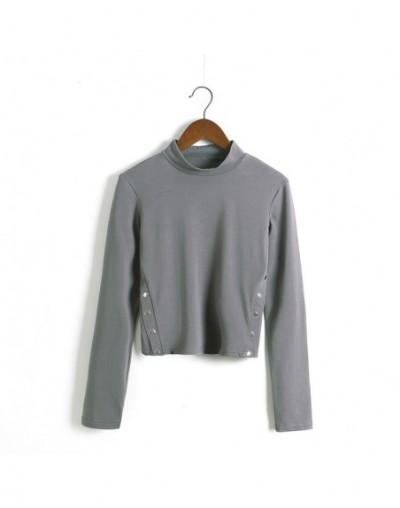 Women Turtleneck Button Detail Crop Top - long sleeve grey - 4O3951393697-8