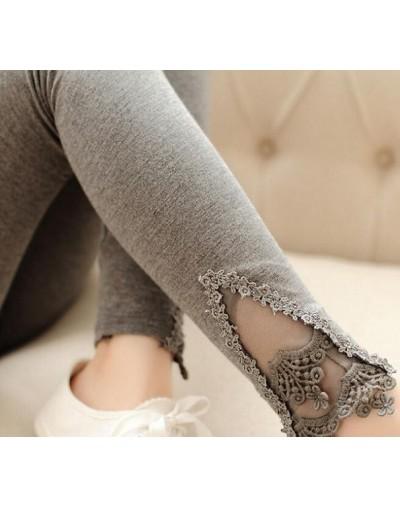 Autumn Leggins Fashion Women Leggings Triangle Lace Hollow Out Legging High Elastic Woman Cotton Skinny Slim Trousers - K056...
