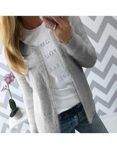 Spring Autumn Fleece Sweater Long Sleeve O Neck Cardigan Fashion Casual Knitting Open Stitch Cardigans Coat Plus Size XL - G...