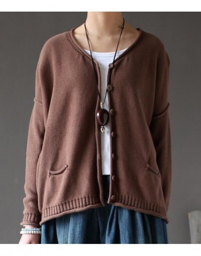2019 Autumn Solid Cotton Knit Sweater Coats Spring Women Sweater Long Sleeve Casual Cardigan Femenino Loose Coat - brown - 4...