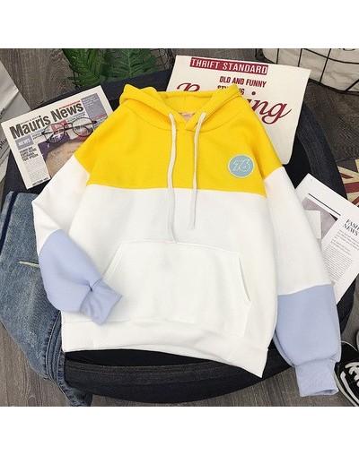 Women Sweatshirt Kpop Korean Kpop Style Harajuku Ulzzang Yellow Pink Hoodies Color Block Contrast Patchwork Letter Pullover ...
