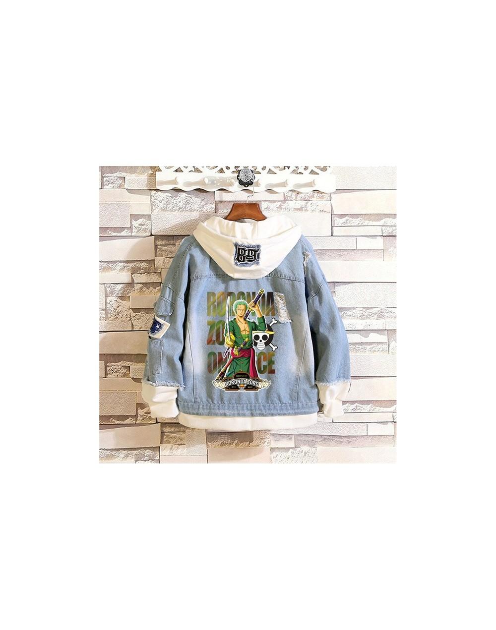 ONE PIECE Luffy Zoro Cosplay Jeans Denim Jacket Long Sweatshirt Harajuku Streetwear Hoodies Fashion Hooded Coats Windbreaker...