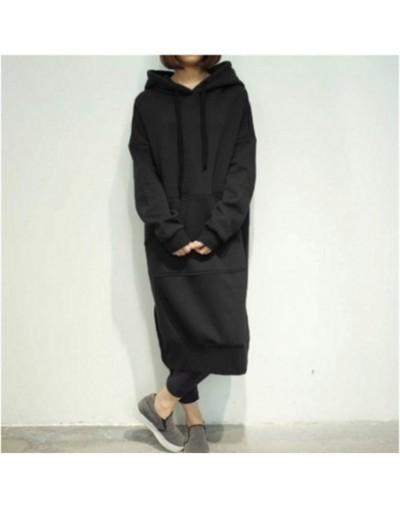 Thick Warm Hooded Sweatshirt Women 5xl dress Poleron Mujer 2019 Long Sleeve Tunic Hoodie Kangaroo Pocket Hoodie Korean Overs...