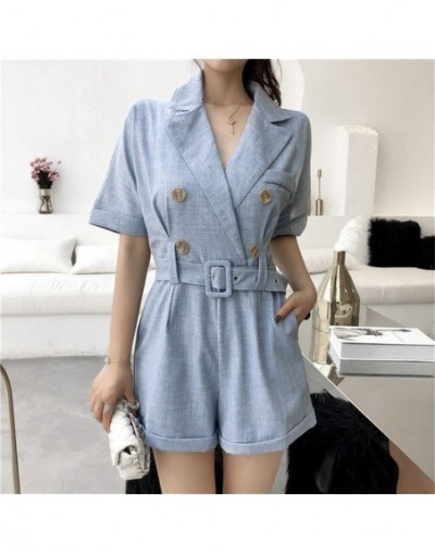 OL Jumpsuit Women Romper+Sashes 2019 Summer Bodysuit Elegant Party Sexy Solid Playsuits Short Sleeves Short Pant Overalls - ...