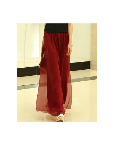 Spring and summer womens beach pants loose plus size high waist culottes gold chiffon skorts wide leg pants trousers - wine ...