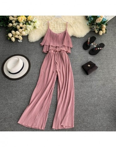 Ruffled Sling Top + Pleated Wide Leg Pants Women Summer 2pcs Fashion Suit Solid Color Trendy Resort Trouser Set - Pink - 4N4...