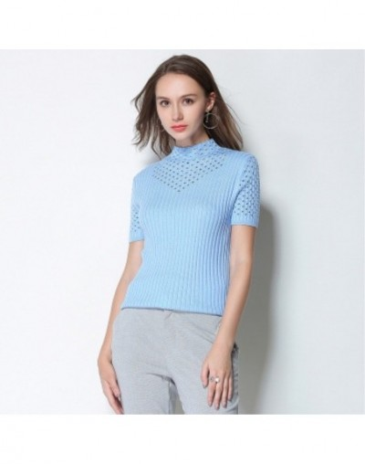 Spring Summer Women Solid Sweaters Big Oversized Cashmere Wool Hollow Short Sleeve Turtleneck Pullovers Slim Jumper Knitted ...