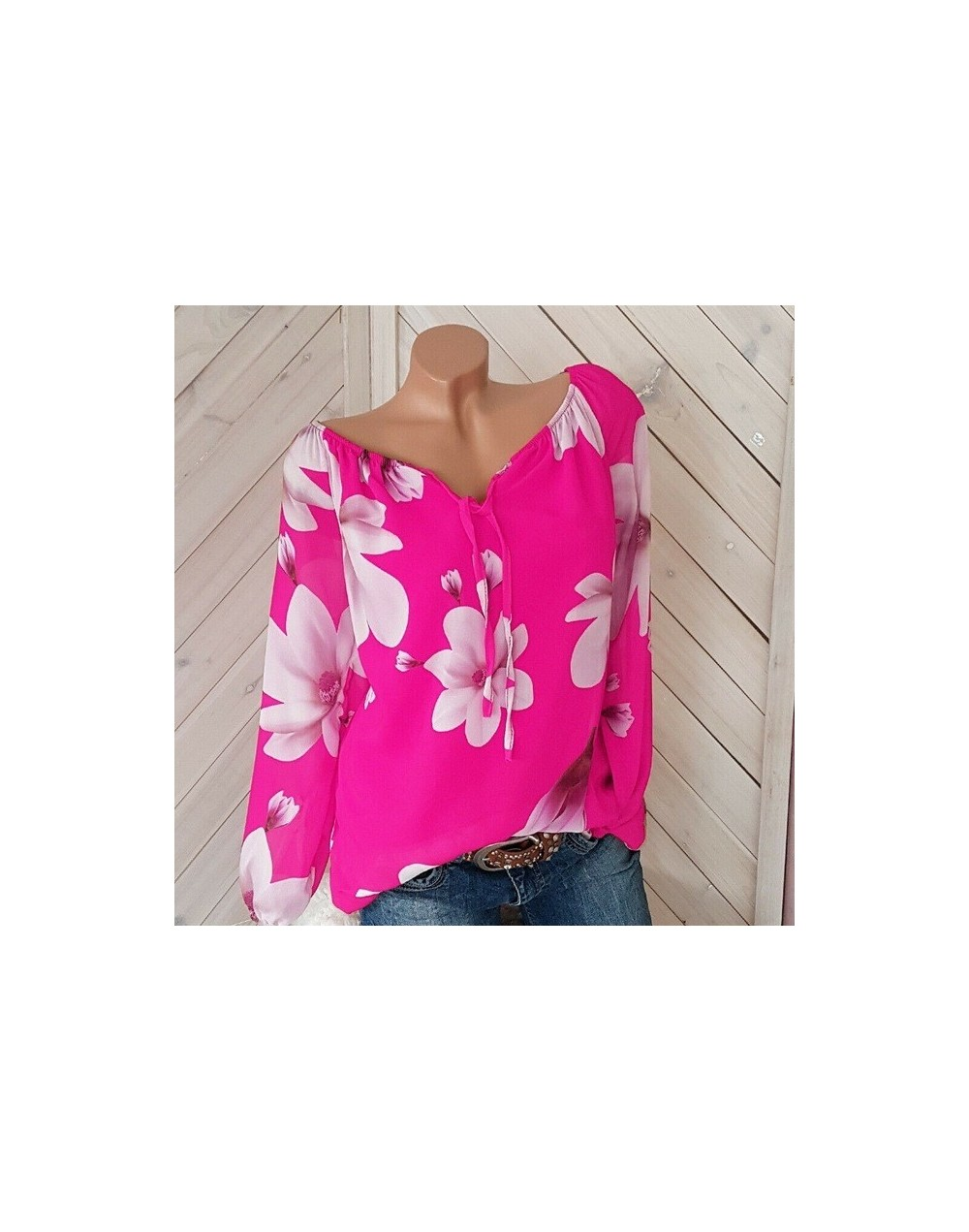 Long sleeve Chiffon Women Blouse And Tops 2019 Summer Beach Flroal Blouse Shirt Casual V Neck Female Loose Tops Blouses Shir...