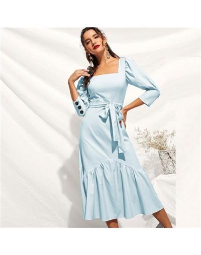 Ruffle Hem Puff Sleeve Belted Fit And Flare Dress 2019 Elegant Spring Autumn Square Neck Women Summer Long Dresses - Sky Blu...