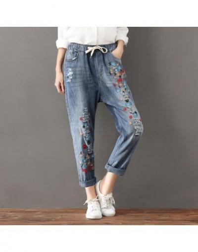 Vintage Lace Up Embroidery Women Jeans Plus Size Casual Denim Harem Pants Ripped Jeans For Women Loose Ladies Jeans Femme C5...