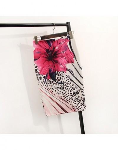 Floral Print High Waist Pencil Skirt Fashion Bodycon Skirts Womens Summer 2019 Knee Length Elastic Saia 2C574 - as picture 1...