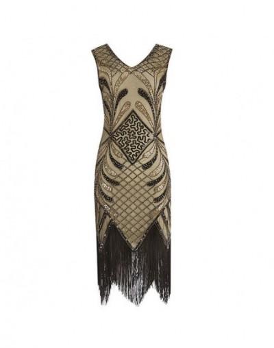 Women 1920s Gatsby Charleston Inspired Sequin Dress Beaded Art Deco Dress V-Neck Sleeveless Long Party tassel Dress for Wome...