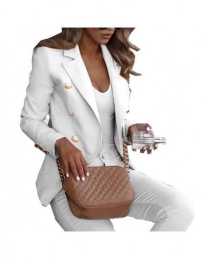 Ladies Elegant Slim Solid Color Suit Tops Female Long Sleeve Casual Short Coat for Spring Autumn FS99 - White - 5Q1112572608...