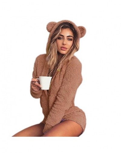 Sweet Fleece Hoody Cat Ear Body Kawaii New Jumpsuits Women Solid Lady Cute Shorts Rompers Playsuit Home Service Jumpsuits M0...