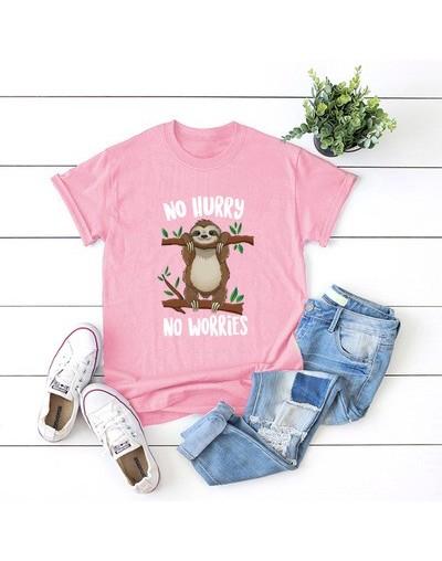 S-5XL Summer Casual Short Sleeve T-Shirt animal Print o Collar Cute Funny Sloth Harajuku Cotton T-Shirt - pink - 56111113722...