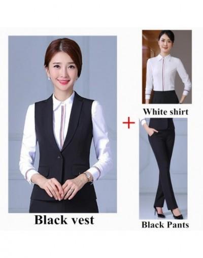 Fashion women vest pant suits spring autumn formal business uniforms office plus size black sleeveless vest and pants Navy b...