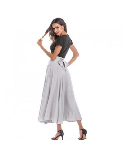 2019 Basic Maxi Long Skirts Plus Size 4xL 100cm Muslim Women Pleated High Waist Bow Split Ball Gown Longa Saias MS8323 - Gra...