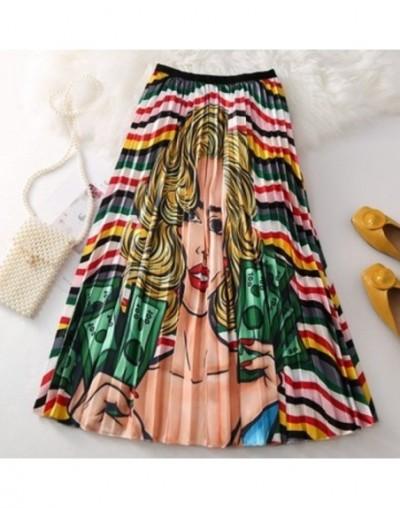 2019 New Fashion Cartoon Print High Waist Pleated Skirt Women Summer Autumn Midi Skirts Womens Elastic Waist Long Skirts Rok...