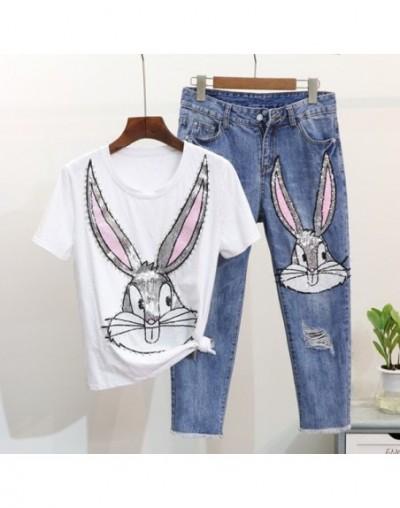 Harajuku Cartoon Diamonds Sequined Pant Suit 2019 Summer Cotton Tshirt+Ripped Calf-Length Jeans Pant Set For Women 2 Pieces ...