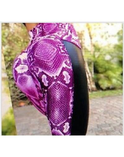 Women Fitness Push Up Leggings High Waist Workout Legging Pants Fashion Female Snake Skin Printed Leggings Plus Size - purpl...