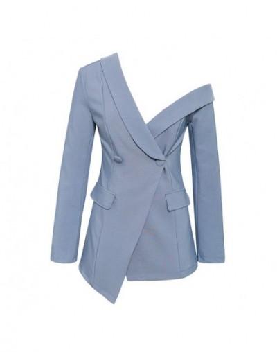 Sexy one shoulder blazer coat autumn women 2019 Asymmetrical work office female blazer Elegant blue grey blazer female - Blu...