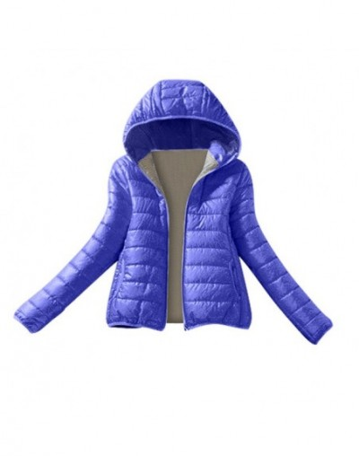 Women Winter Warm Coat Slim Hooded Zipper Jacket Overcoat Coat abrigos mujer invierno 2018 winter jacket women - Blue - 4C30...