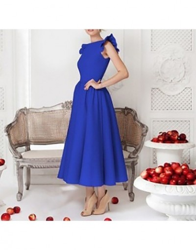 Vintage Dress For Women Sleeveless Patchwork Ruffles High Waist Plus Size Ladies Party Dresses Female 2019 New - blue - 4O41...