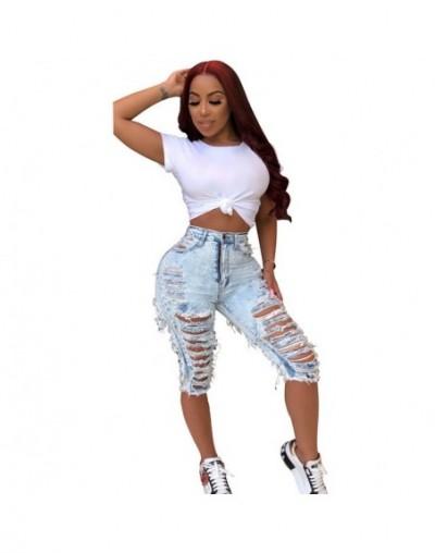 2019 New summer hole high waist knee length jeans fashion vintage denim pants QJ5303 - Sky Blue - 59111182796783