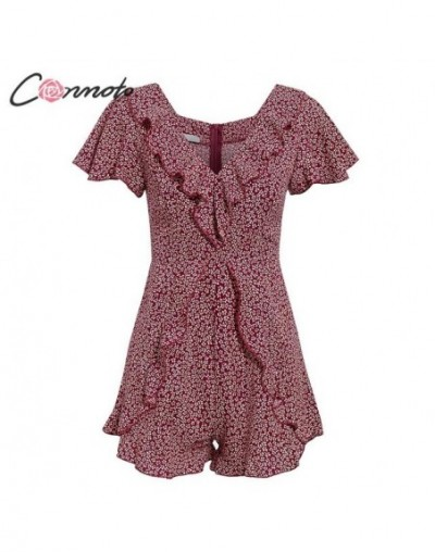 Bohemian Sexy Ruffle Summer Playsuits Women Deep V Party Vintage Short Jumpsuit Rompers Female Mini Beach Romper - Brick red...