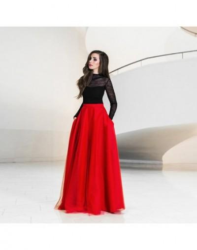 Elegant Maxi Tulle Skirt with Pockets High Waist Floor Length Red Long Skirts Womens Tutu Formal Prom Party Skirt Custom Mad...