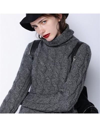 2019 winter sweater women high collar cashmere sweater female thick sweater new twist pattern bottoming warm pullover - Dark...