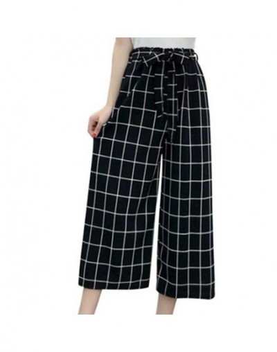 Summer New Striped Style Black Loose High Waist Crop Casual Pants Women One Size Chiffon Wide-leg Pants Plus Size - D - 4I30...