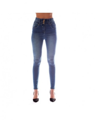 High Waist Jeans Push Up Stretch Skinny Jeans Woman Washed Vintage Jean Femme Fashion Casual Denim Jeans Womens Blue XXL - 3...