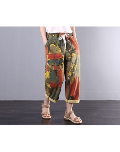 Vintage Printing Harem Jeans for woman Elastic waist Denim pants Casual All match summer Free Size Calf-lenght Jeans AB2Z40 ...