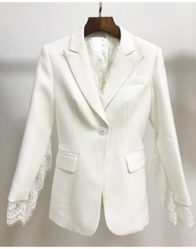 Top Quality Designer Lace Blazer Women Jacket Female Single Button Black White Notched Blazer for Office Ladies Pocket Outwe...
