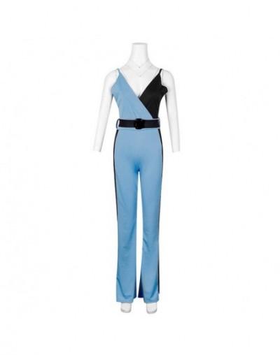 Color Block Spaghetti Strap Jumpsuits Elegant Rompers Women Jumpsuit Striped Pants Office Ladies Bodysuits V Neck Belted Tro...