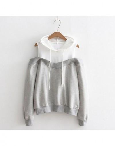 Autumn New fashion Strapless shoulder fake two-piece hooded sweatshirt women - Gray - 4H3069079834-2