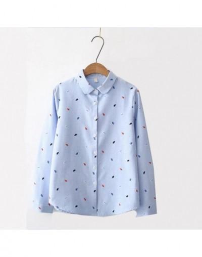 Long Sleeve Print Women Top Cotton Shirt 2019 Spring New Fashion Office Lady Casual Shirt White Blue Tops Blusa Feminina - S...