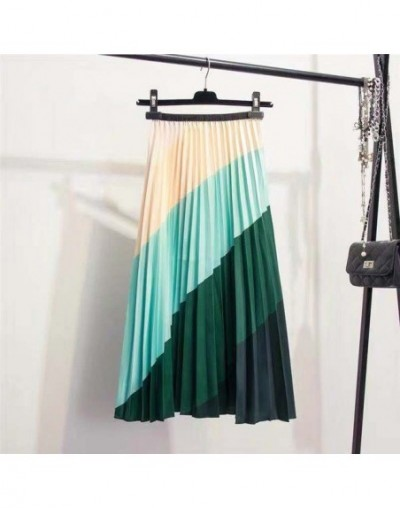2019 New-coming Spring Rainbow Discoloration Silk surface Retro Women Skirts High Street Style A-Line Striped Skirts - Green...