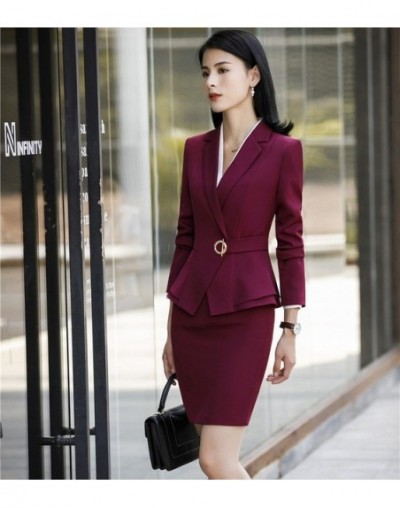 Ladies Office Uniform Designs Business Suits With Skirt and Tops Autumn Winter Fashion Wine Formal Work Wear Sets Blazer - W...