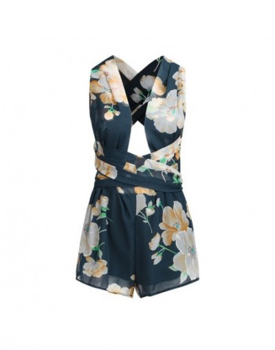 Summer Fashion Women deep V-Neck Sleeveless Romper Floral Printing Short Mini Playsuit Casual Loose Party Evening Jumpsuit -...